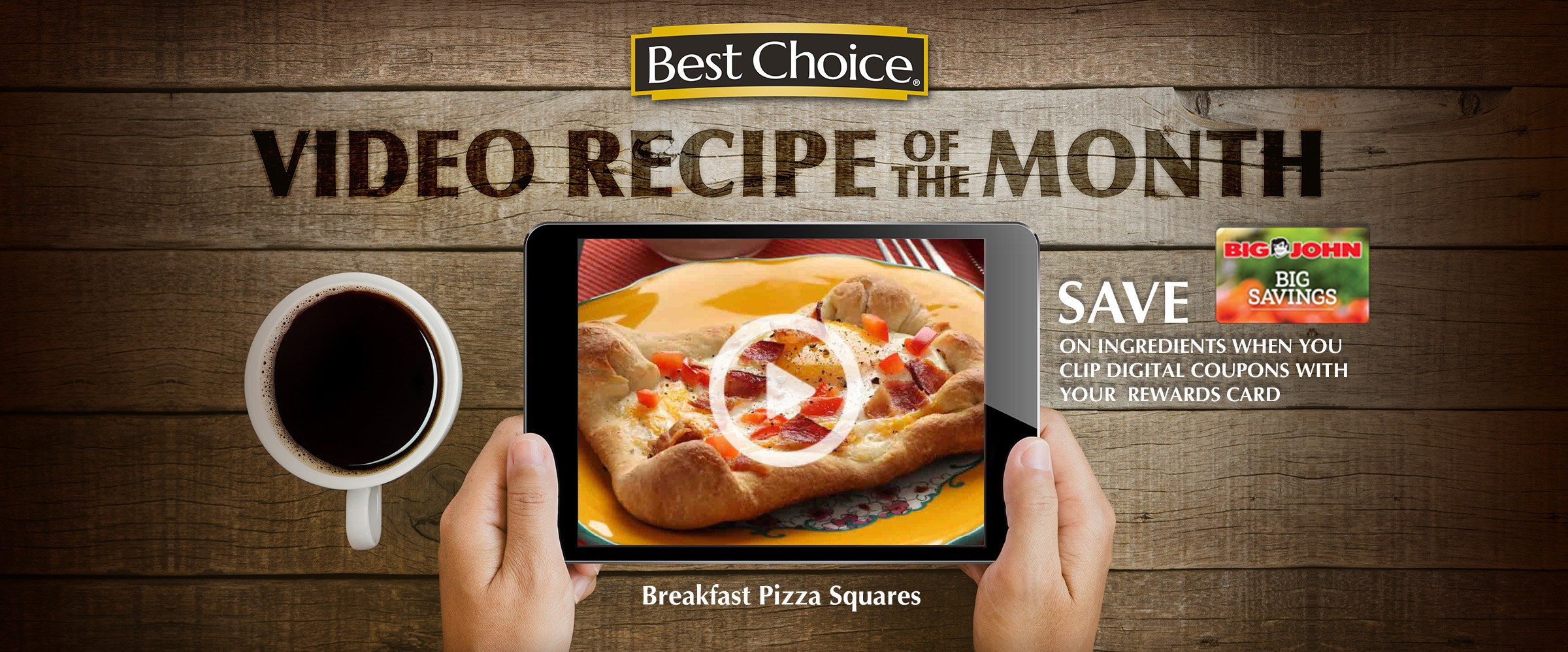Recipe Video: Breakfast Pizza Squares. October is National Pizza Month! Freshly-baked pizza is just as delicious for breakfast as it is for dinner.